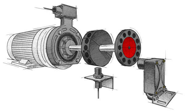 Speed switch, speed sensor, and digital ring kit on a motor application