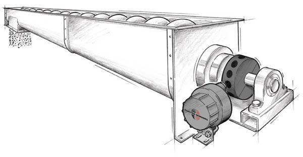 Speed Switch Monitoring Belt Speed on a Screw Conveyor